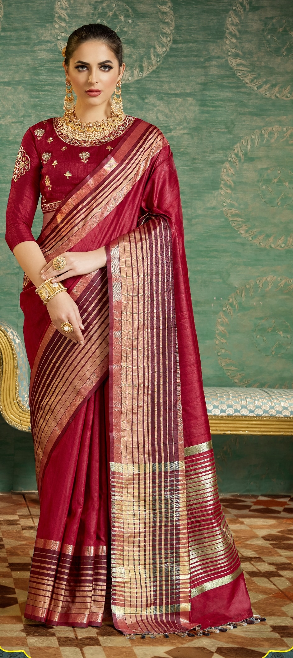 769663: Red and Maroon color family Party Wear Sarees, Traditional ...