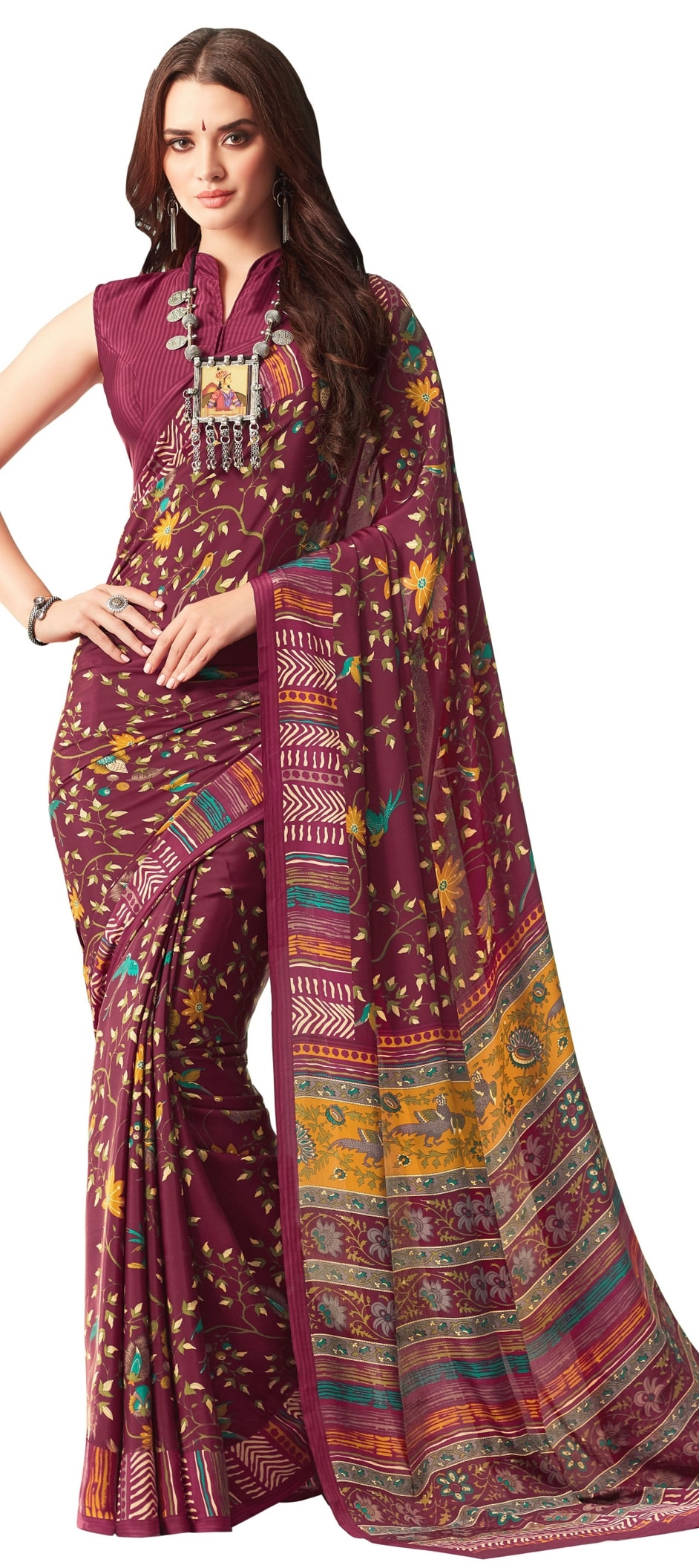 769775: Purple and Violet color family Silk Sarees with matching ...