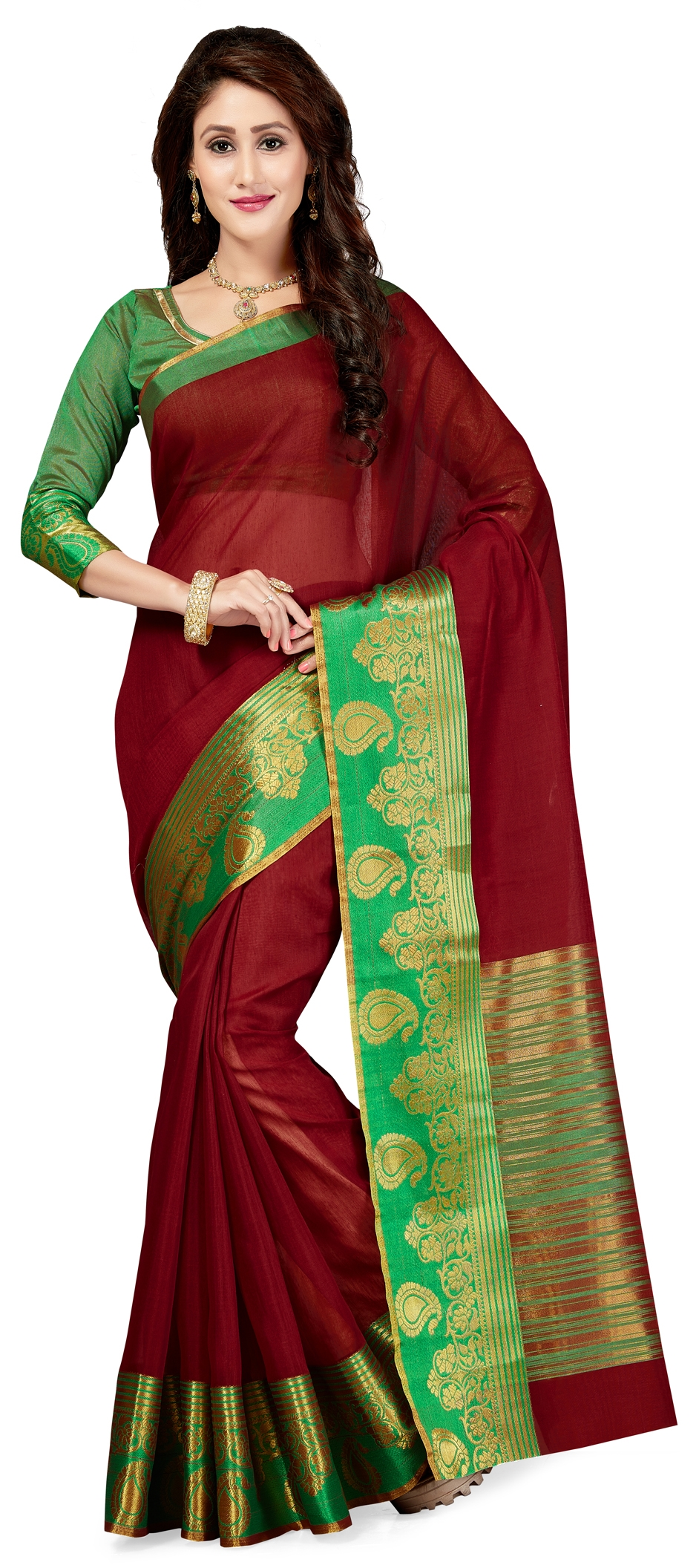 771569: Red and Maroon color family Party Wear Sarees with matching ...