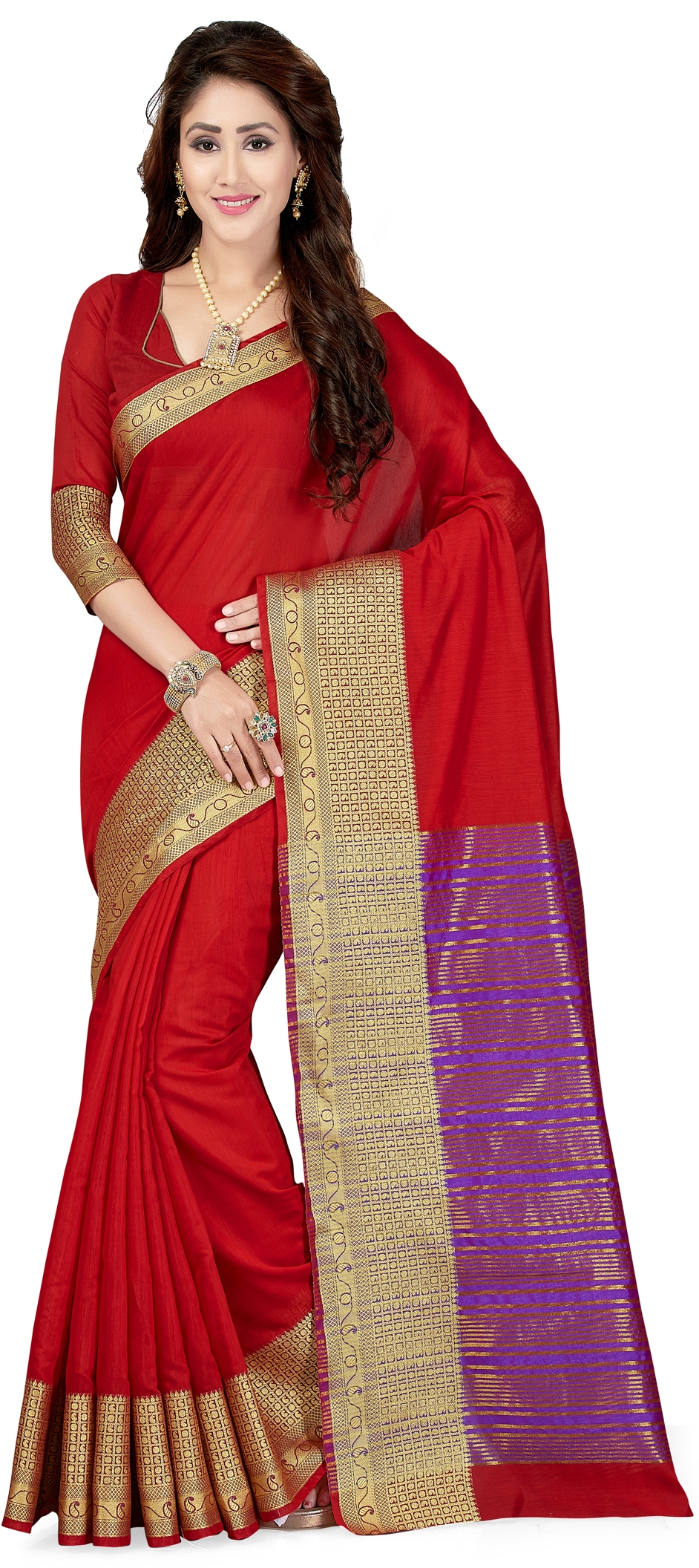 771669: Red and Maroon color family Party Wear Sarees with matching ...