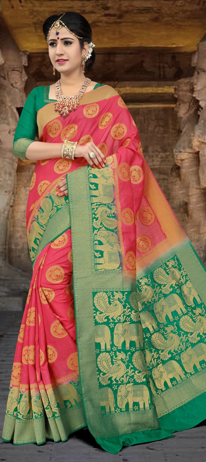 772711: Pink and Majenta color family Party Wear Sarees with ...