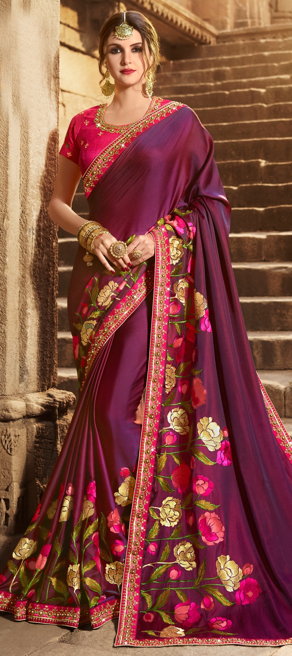 772790: Purple and Violet color family Silk Sarees with matching ...