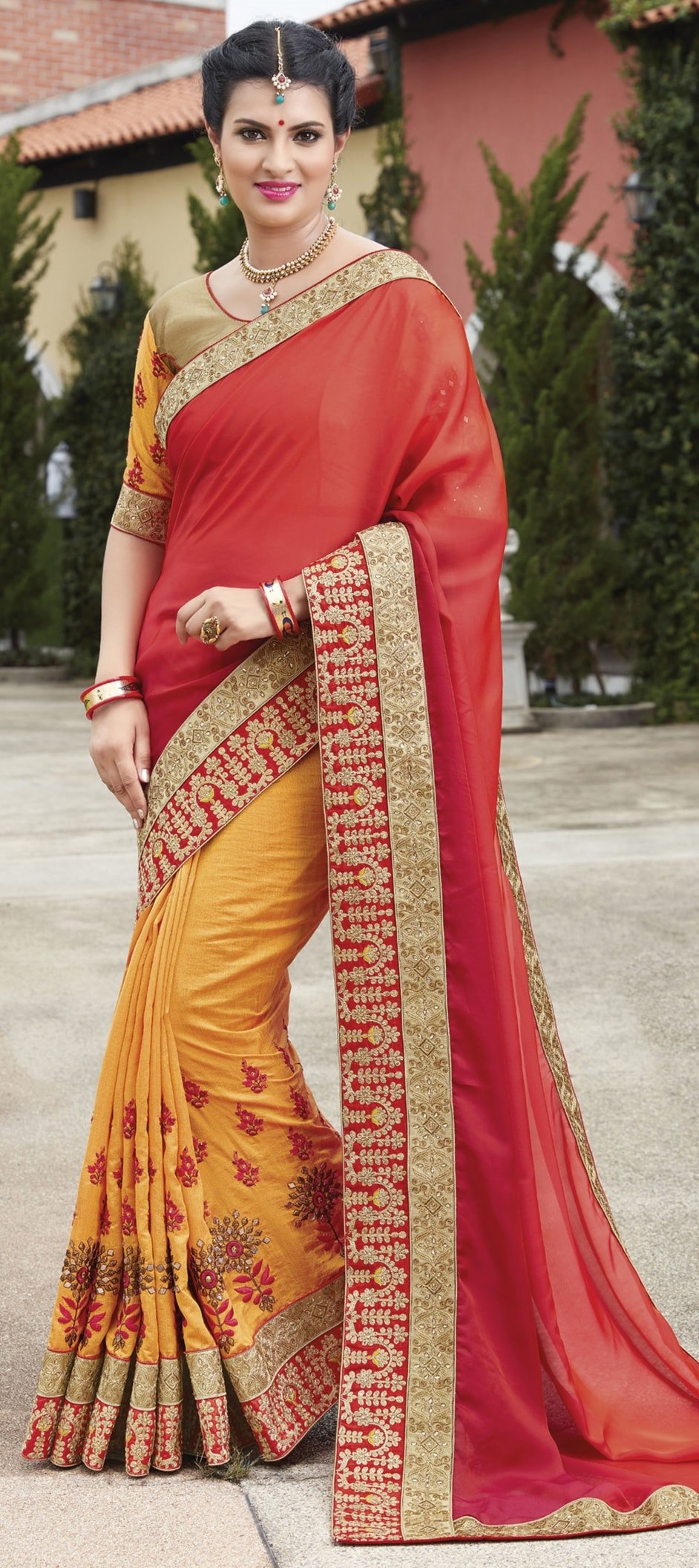 773388: Red and Maroon, Yellow color family Embroidered Sarees ...