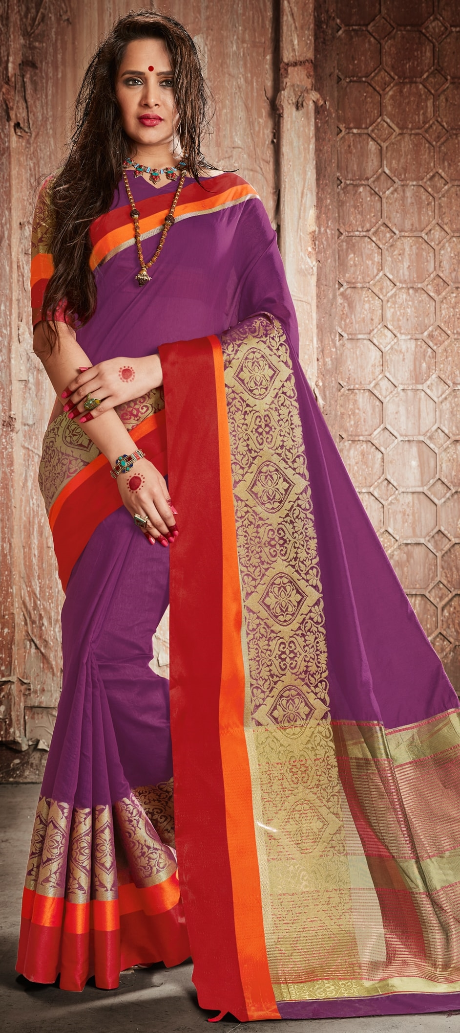 773723: Purple and Violet color family Party Wear Sarees with ...