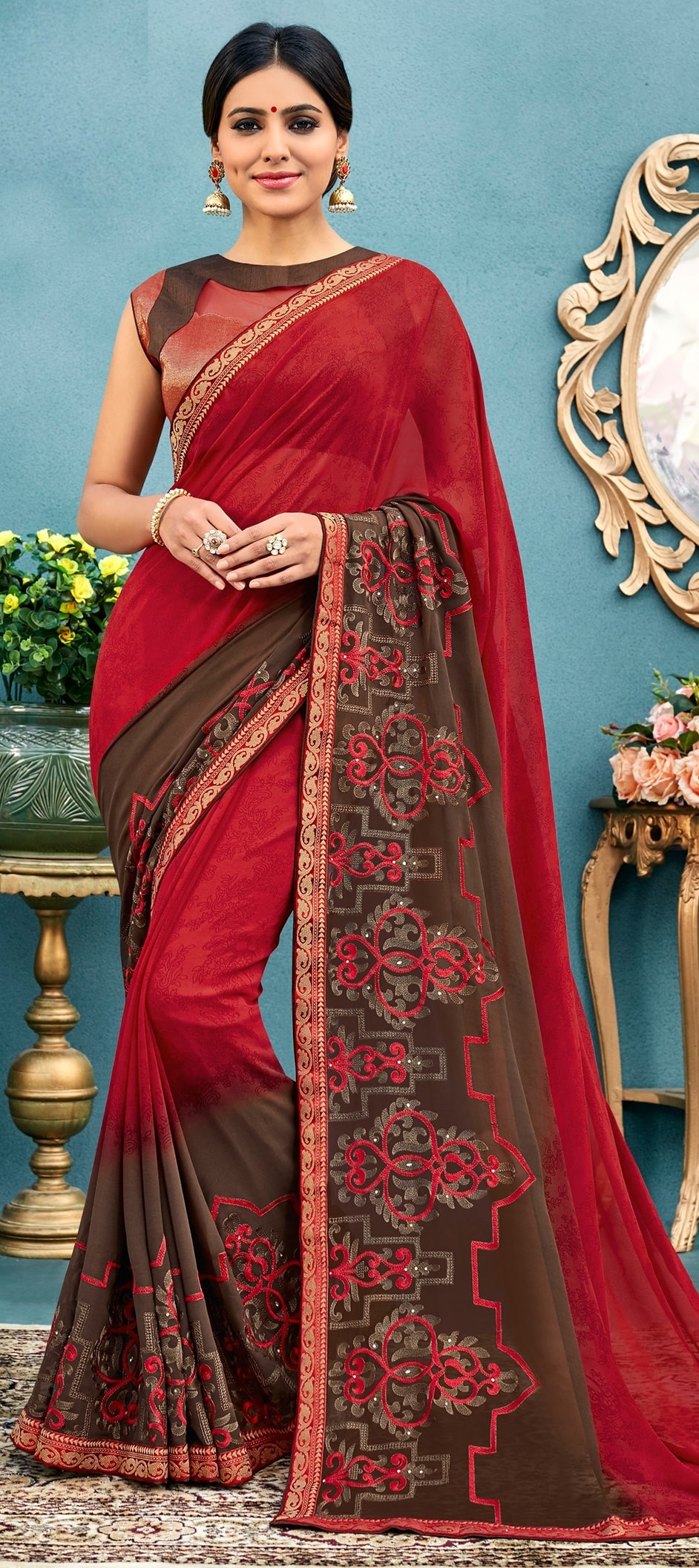 774126: Red and Maroon color family Embroidered Sarees, Party Wear ...