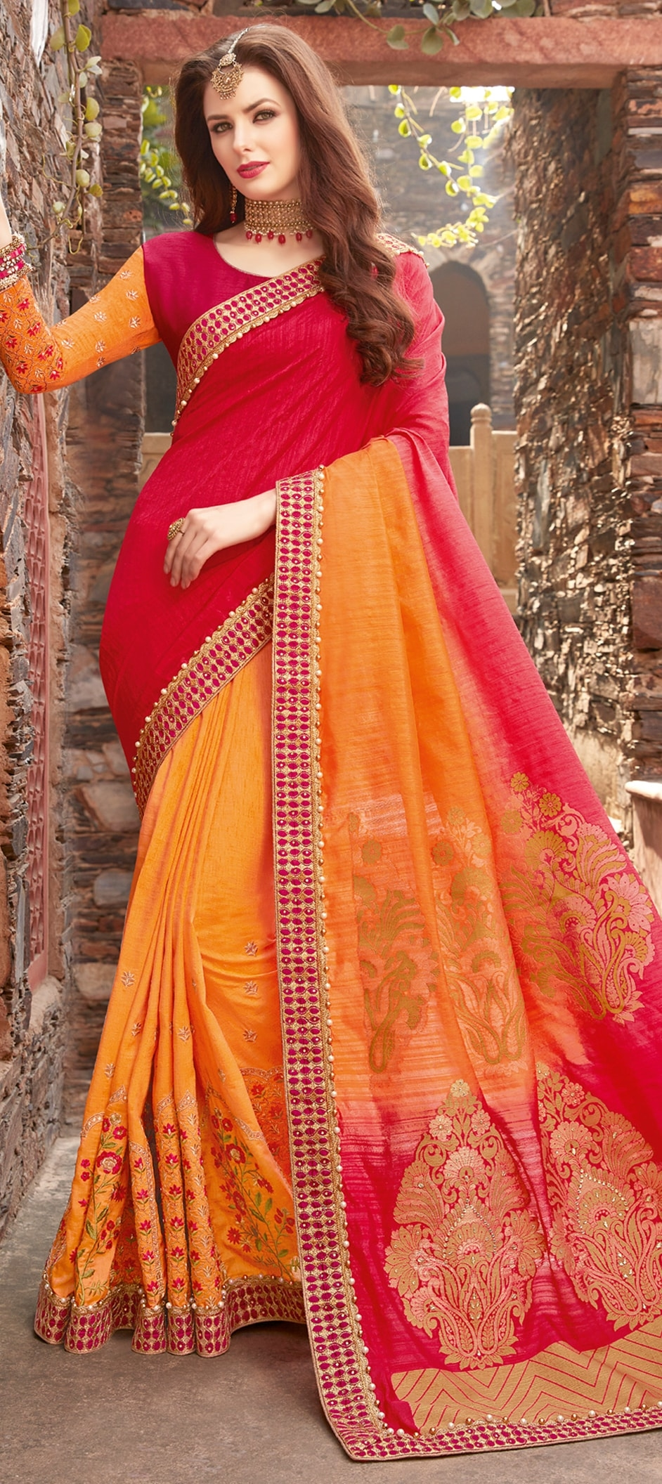 774155: Orange, Red and Maroon color family Embroidered Sarees ...