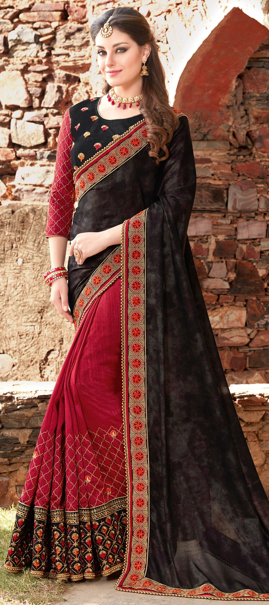 774172: Black and Grey, Red and Maroon color family Embroidered ...
