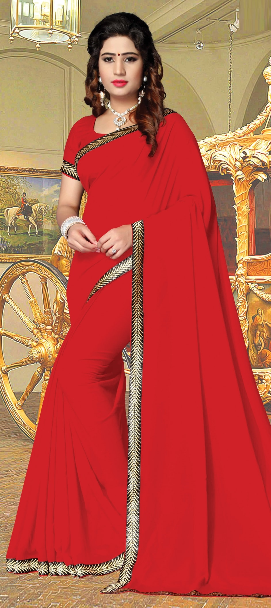 774392: Red and Maroon color family Party Wear Sarees with matching ...