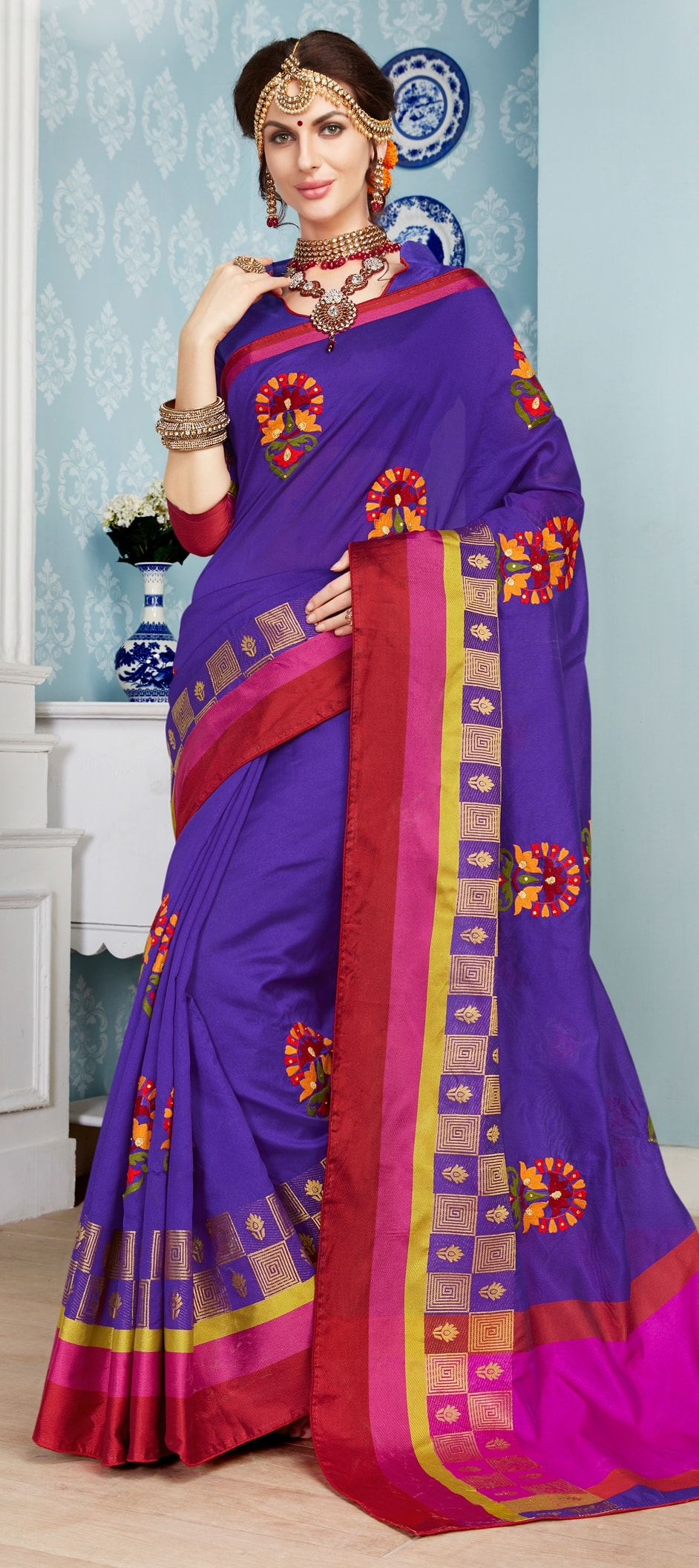774545: Purple and Violet color family Silk Sarees with matching ...