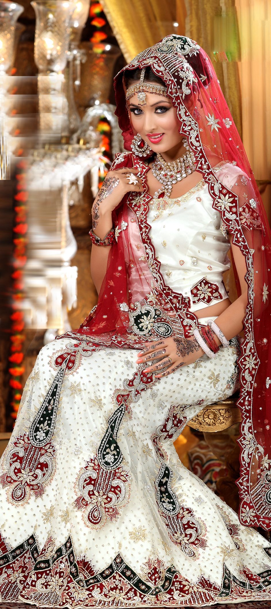 82517: White and Off White color family Wedding Lehnga.
