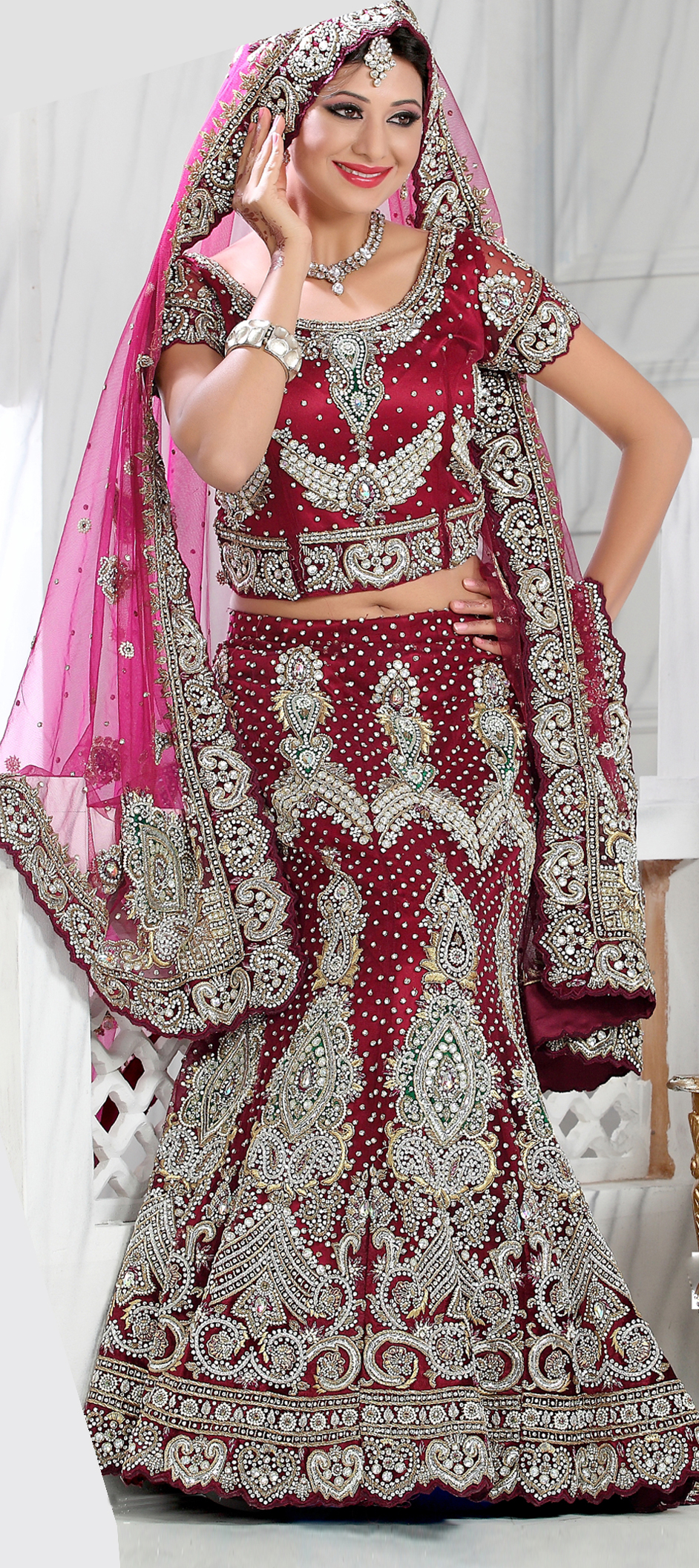83348: Red and Maroon color family Bridal Lehenga,Wedding Lehnga .