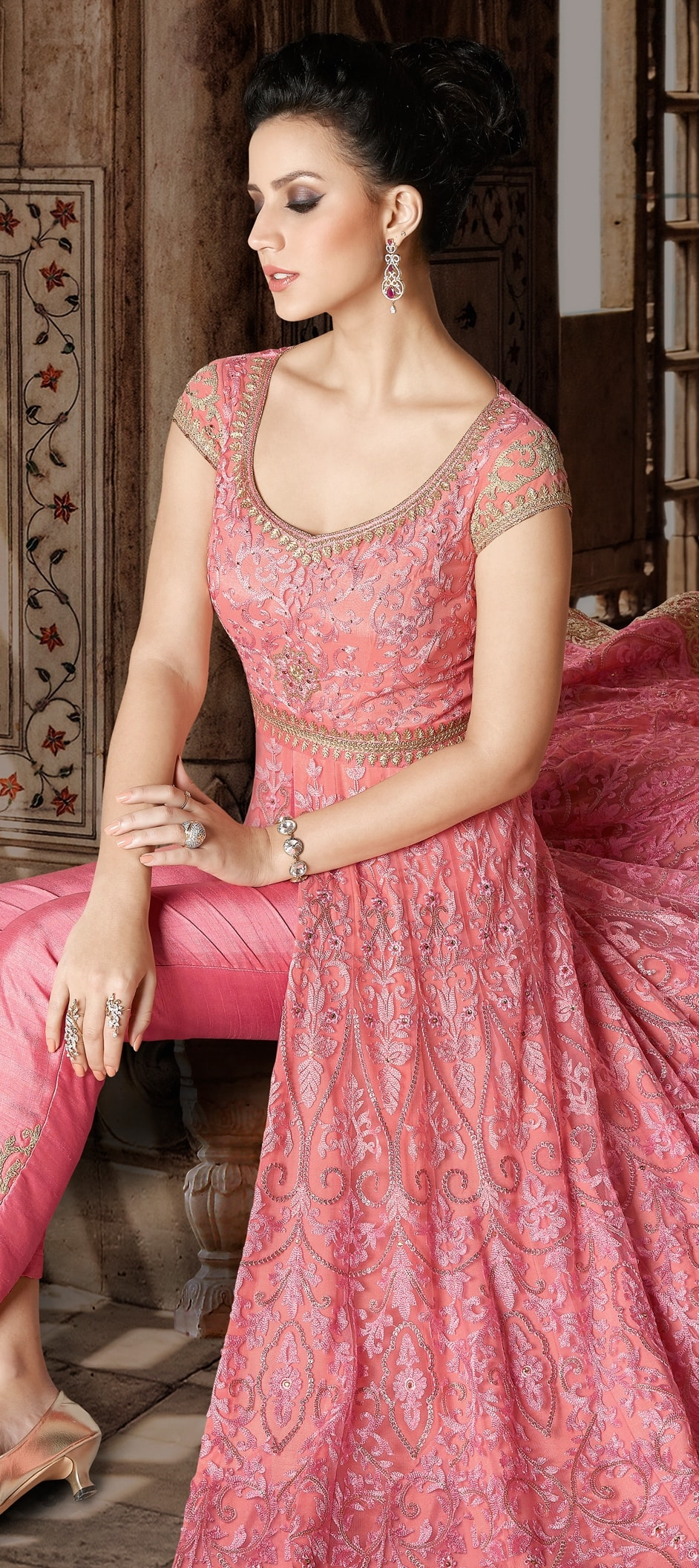 905683: Pink and Majenta color family unstitched Party Wear Salwar ...