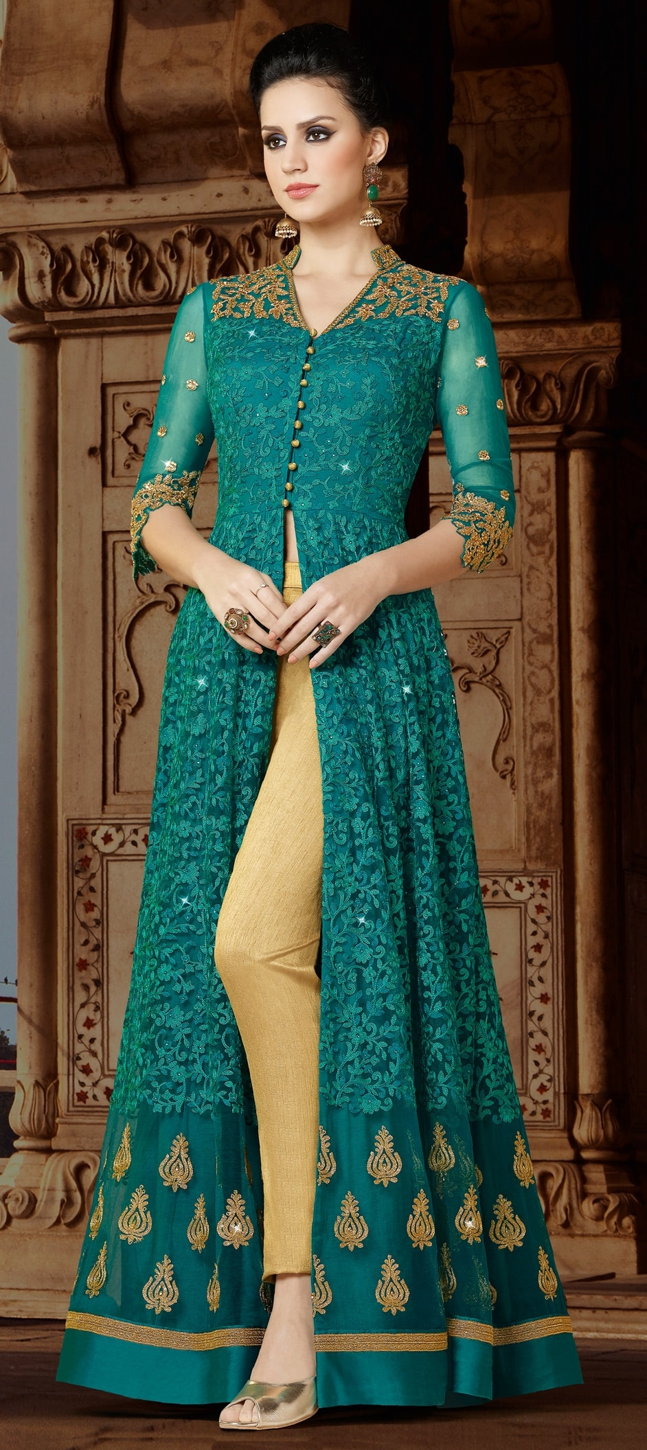 905687: Blue color family unstitched Party Wear Salwar Kameez .