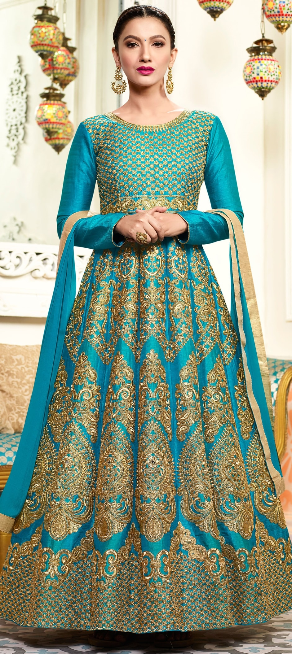 906430: Blue color family semi-stiched Anarkali Suits .