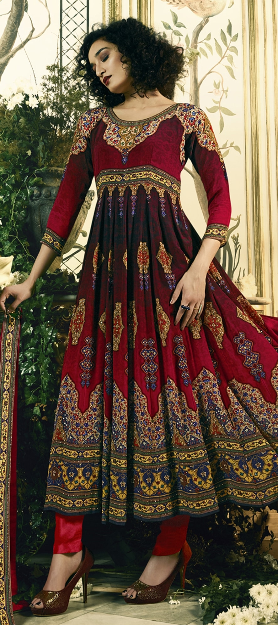 909531: Red and Maroon color family stitched Bollywood Salwar Kameez .