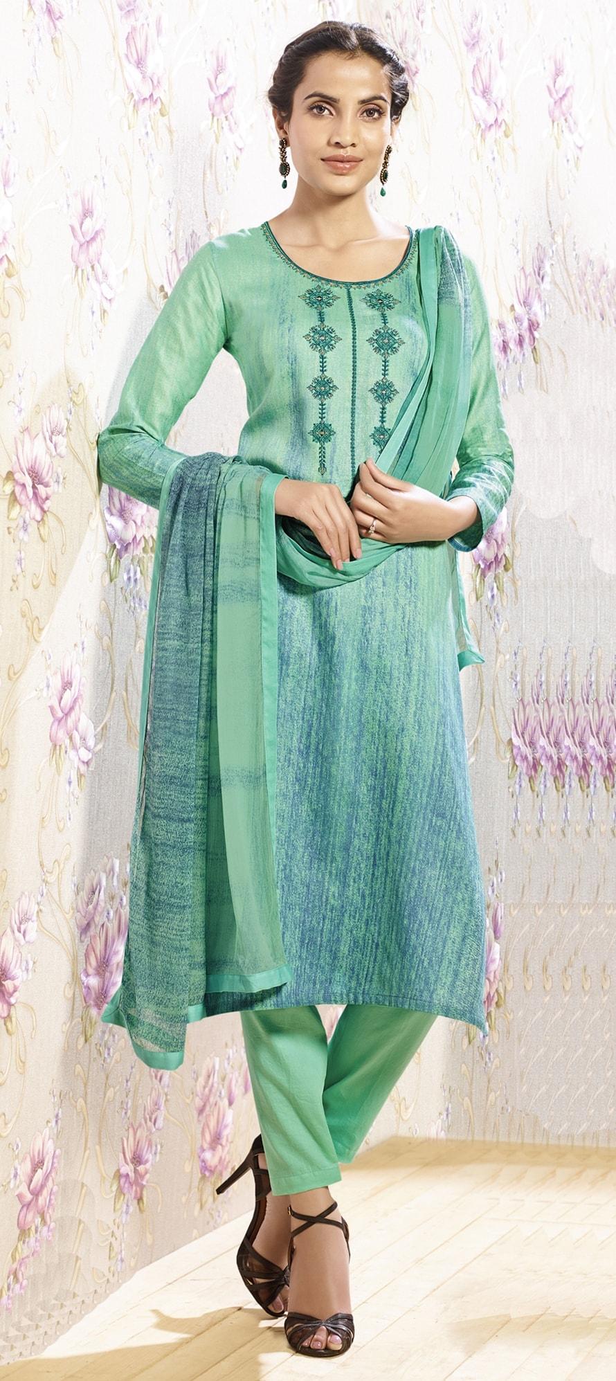 909565: Green color family unstitched Pakistani Salwar Kameez, Party ...