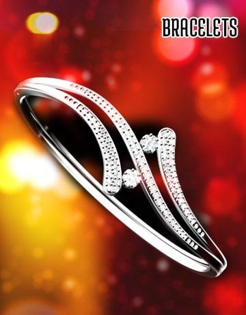 Gold Plated Bracelets, Sterling Silver Rhodium Polished Bracelets