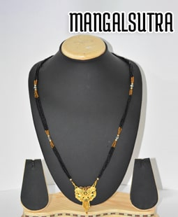 Gold Plated Mangalsutra, Silver Rhodium Polished Mangalsutra